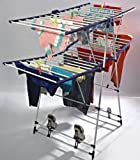 Parasnath Fling Cloth Dryer Stand Two Tier Multiple Rods (White And Blue)