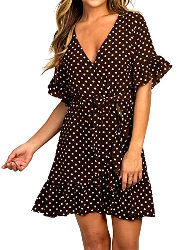 (Womens Fashion Polka Dot V Neck Ruffles Casual Loose Swing Short Mini Beach Dress Brown)