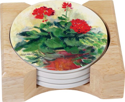 (CounterArt Red Geranium Design Round Absorbent Coasters in Wooden Holder, Set of 4)
