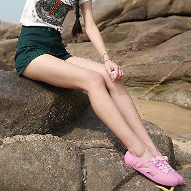 LvYuan Mujer-Tacón Plano-Confort-Sandalias-Informal-Látex-Negro Amarillo Rosa Beige Verde Claro Azul Claro Pink