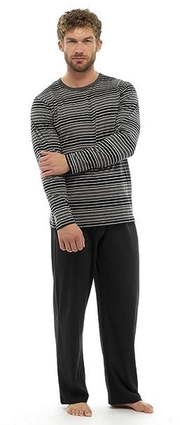 Hombre Conjunto Pijama Top De Manga Larga Y Pantalones Pijama De Algodón - algodón, NEGRO