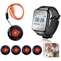 CallToU Wireless Wrist Pager Smart Call System Caregiver Pager, Nurse Calling Alert For Elderly/Patient/Disable at Home 1 PC Receiver Alert Pager 5 PCS Fixed Mounted/Portable Call Buttons 500+Feet