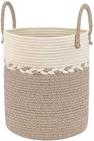 UBBCARE Cotton Rope Storage Basket Baby Laundry Hamper Woven Decor Basket Toy Storage Bin in Brown and Off-White 15 x 13 with Long Handles