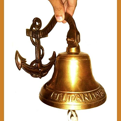 Antique Museum Antiquated Musical Ship Décor 7 Inch Large Titanic 1912 London Brass Bell AMBB 06 ()
