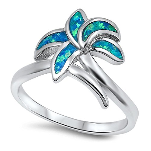 Palm Tree Blue Simulated Opal Classic Ring New .925 Sterling Silver Band Size 6