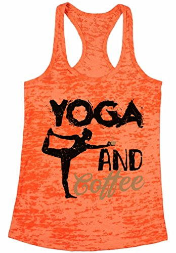 Awkward Styles Women's Yoga and Coffee Graphic Burnout Racerback Tank Tops Workout Fitness Coffee Top Orange S