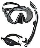Atomic Venom Dive Mask and SV2 Snorkel Combo (Black / Gray)