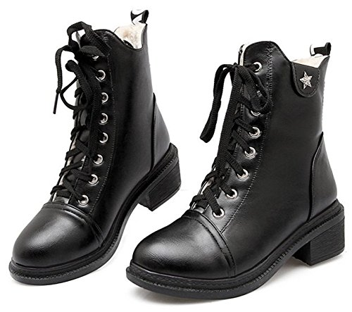 Easemax Women's Trendy Round Toe Lace Up Mid Block Heel Martin Short Ankle High Boots Black bxSsi