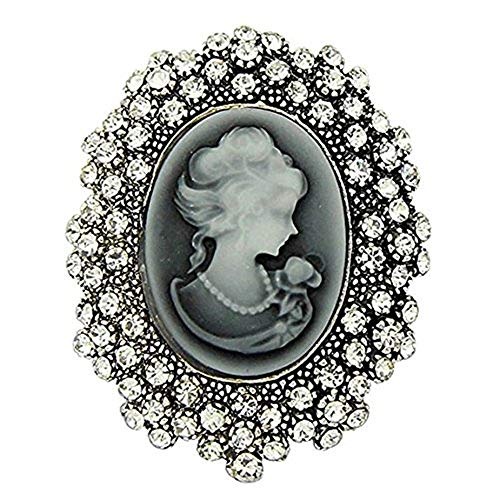 Axmerdal Crystal Rhinestone Flower Vintage Victorian Cameo Brooch Pin Set for Women