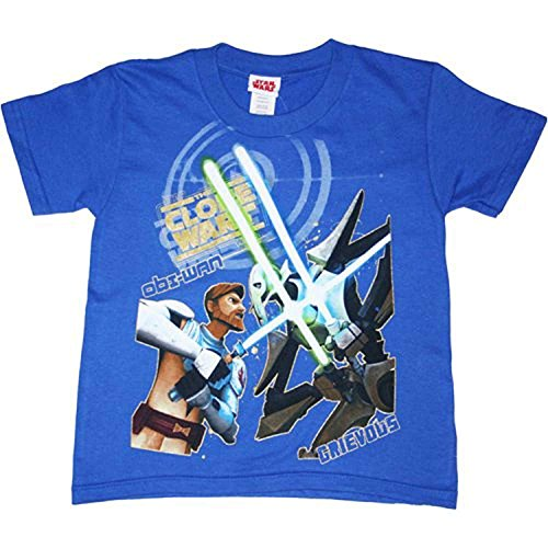 Star Wars The Clone Wars Battle Youth (8-20) T-Shirt, Blue, X-Large