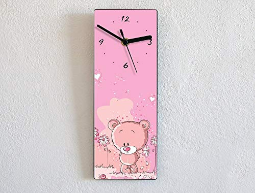 (Girls Pink Teddy Bear - Wall Clock )
