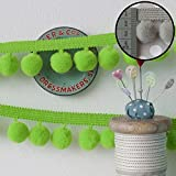 Jumbo Pom Pom Trim Lime Green (Per Metre) by Frumble Fabrics