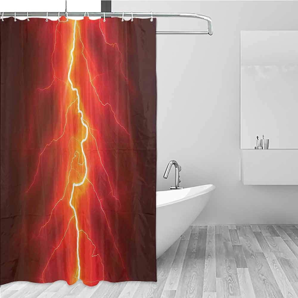 BE.SUN Home Decor Shower Curtain,Nature,Polyester Fabric Waterproof,W94x72L Yellow Red by BE.SUN
