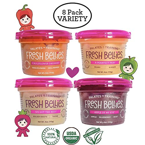 Fresh Bellies Vegan Baby Food for Kids and Toddlers, No Added Sugars, 100% Organic, Gluten Free, Paleo Friendly, 7 Ingredients or Less, Non GMO (4 oz. cups, 8 Pack, 2 of each Flavor) - Variety Pack
