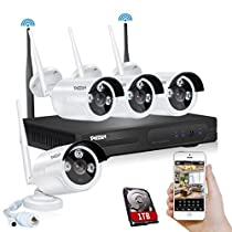 TMEZON Better Than 720P 4CH 960p HD Wireless Security Camera System with 4x HD WiFi Day Night Vision Outdoor IP Cameras (1.3MP, IP66, 80ft IR, 1TB HDD)