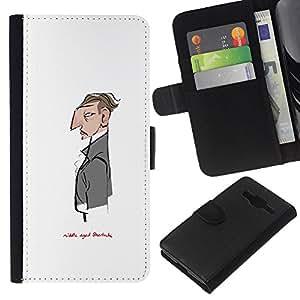 JackGot ( Sir Blanca señor Sherlock Camarero ) Samsung Galaxy Core Prime la tarjeta de Crédito Slots PU Funda de cuero Monedero caso cubierta de piel