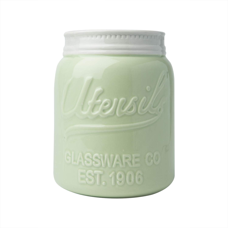 Comfify Wide Mouth Mason Jar Utensil Holder Decorative Kitchenware Organizer Crock, Chip Resistant Ceramic, Dishwasher Safe - Kitchen Caddy Green, Large Size 7'' High