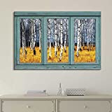 wall26 Vintage Teal Window Looking Out Into a an Aspen Tree Forest During Fall Time - Canvas Art Home Decor - 24x36 inches