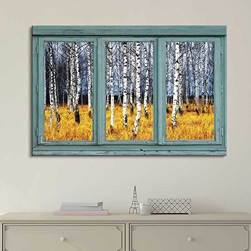 Vintage Teal Window Looking Out Into a an Aspen Tree Forest During Fall Time