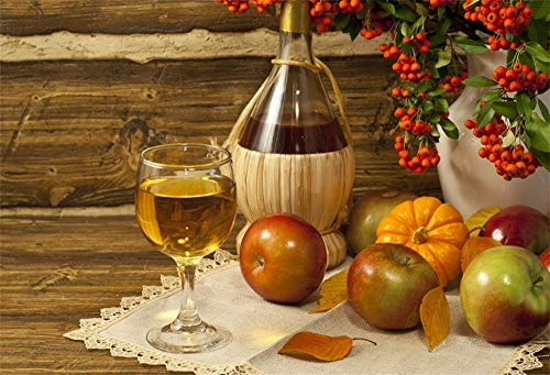 LFEEY 10x8ft Thanksgiving Table Scene Backdrop for Photos Glass of Wine Apples Pumpkin Brown Wooden Wall Wine Glass Fruits Autumn Harvest Decoration Photo Studio ()