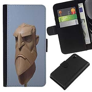 All Phone Most Case / Oferta Especial Cáscara Funda de cuero Monedero Cubierta de proteccion Caso / Wallet Case for Sony Xperia Z3 D6603 // Artista 3d azul barba equipo vikingo cgi