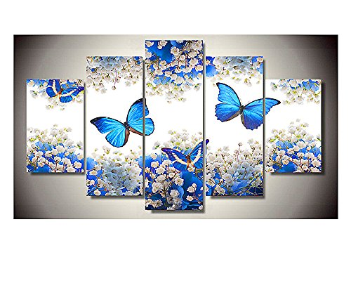 5 Panels Blue Butterfly Wall Art Large Canvas Flash Realism Oil