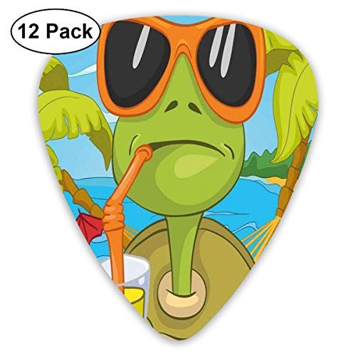 (Guitar Picks 12-Pack,Cool Sea Turtle With Sunglasses Drinking Cocktail At The Beach Cartoon)
