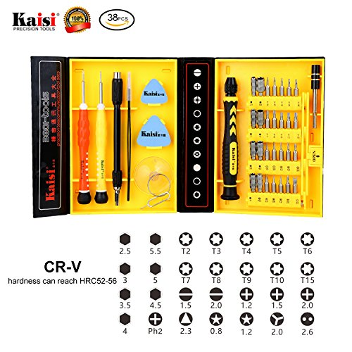 Repair-Kit-Magnetic-Screwdriver-Set-Precision-Tool-Kit-for-iPhone-Repair-Computer-RepairiPadSamsung-GalaxyPhoneTabletsElectronic-and-Precision-Devices-Tool-Set-with-Box-Kaisi-38-Piece-CRV