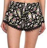 Simplicity Women Floral Pattern Pirnt Lace Tassel Shorts M