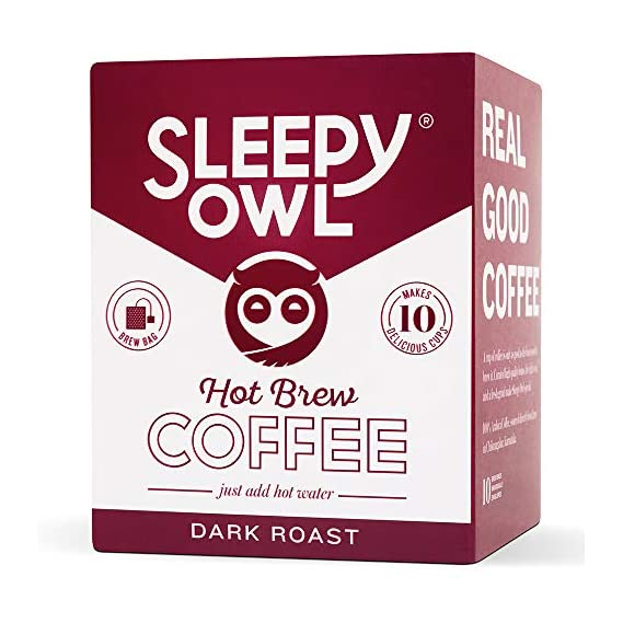 Sleepy Owl Hot Coffee Brew Bags (Dark Roast) | Set of 10 Filter bags for Hot Coffee | 100% Arabica Beans | 5-Minute Brew