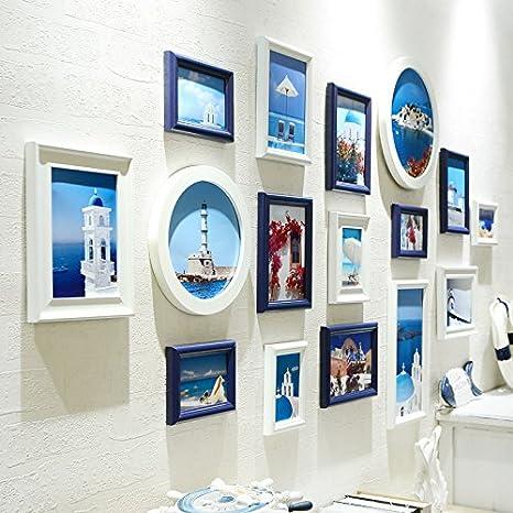 xkdhc® salón pared decoración fondo combinación creativa pared Fotos Marcos, colgar fotos pared 16 cajas espolón de Estados Unidos: Amazon.es: Electrónica