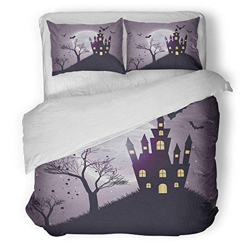 Junhome Vintage Halloween Duvet Cover Set Queen Size,Castle Tree and Bat Desolated Design,Bedroom Decor 3 Piece Bedding Set with 2 Pillowcases,Light Grey Purple