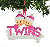 PERSONALIZED CHRISTMAS ORNAMENT TWINS PINK TWO GIRLS SISTERS