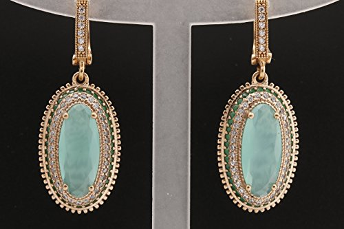 Turkish Handmade Jewelry Long Oval Shape Aquamarine and Round Cut Emerald Topaz 925 Sterling Silver Dangle/Drop Earrings