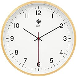 12 Inch Wall Clock , Large Silent Wall Clocks Non Ticking Decorative Wood Grain Clocks with Glass Cover by Hippih