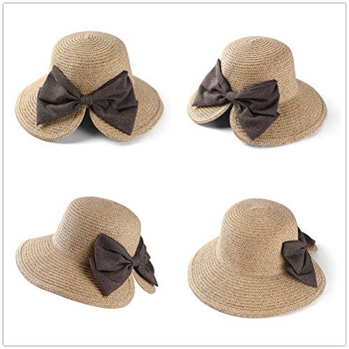 EINSKEY Womens Straw Sun Hat Bowknot Wide Brim Bucket Hat with Neck Cord for Summer Beach Fishing (Dark Beige) by EINSKEY (Image #2)