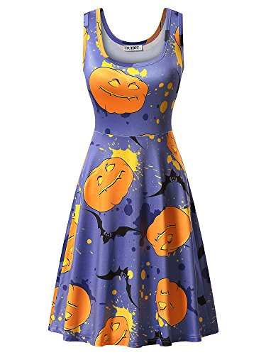 HUHOT Womens Juniors Casual A Line Halloween Homecoming Party Midi Pumpkin Dress Blue Medium 17039-3