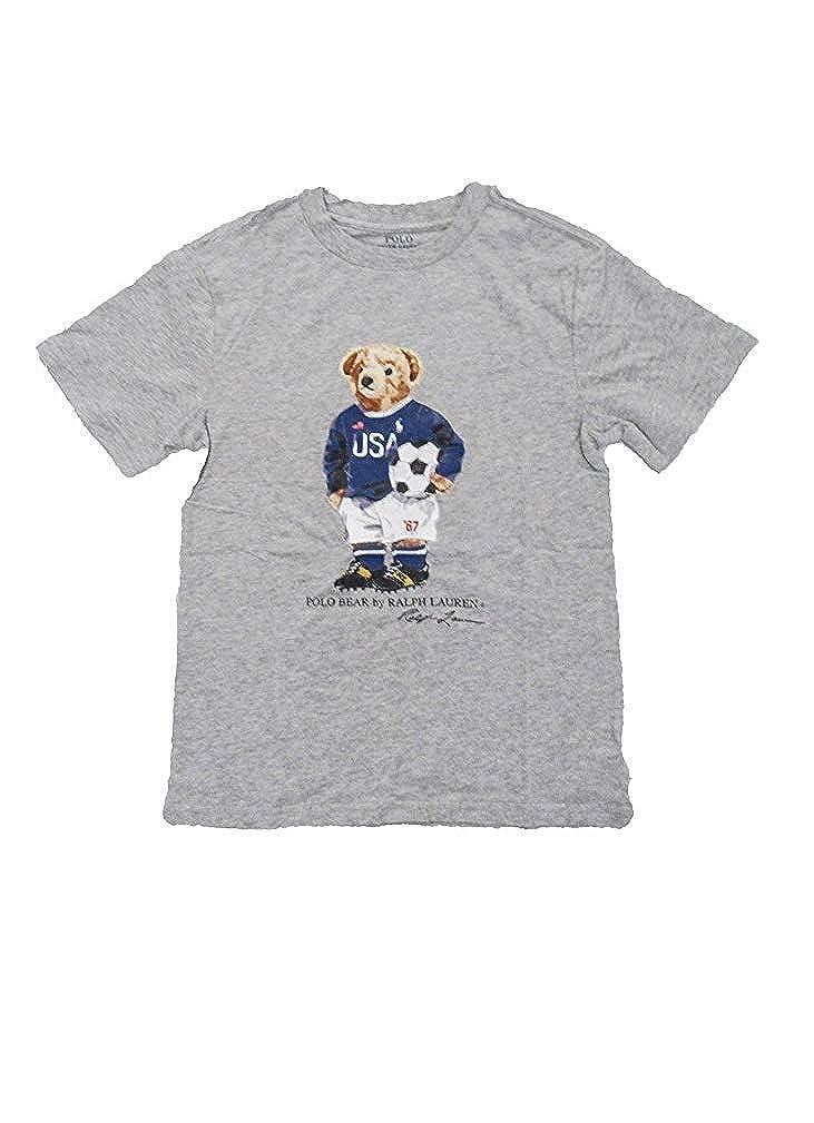 Polo Ralph Lauren Boys Tee Shirt t-Shirt Bear Soccer 3//3T Gray