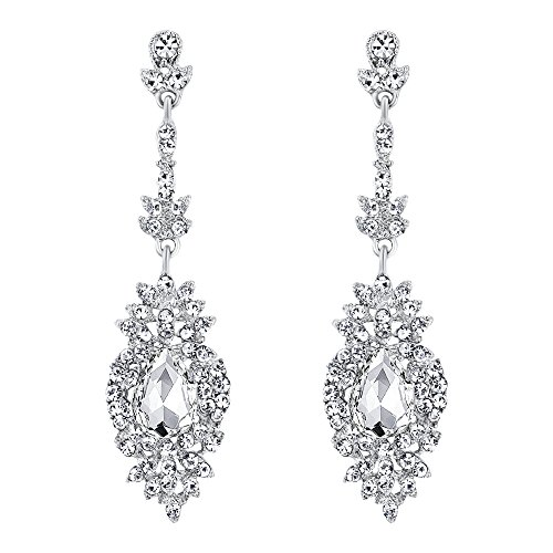 Drop Flower Crystal Earrings (EVER FAITH Rhinestone Crystal Bohemia Bride Flower Leaf Teardrop Pierced Earrings Clear Silver-Tone)