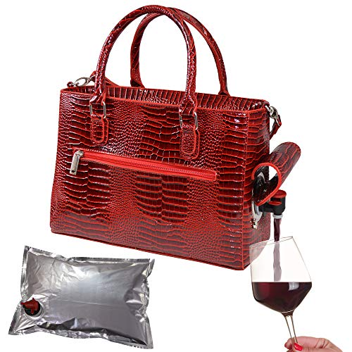 PrimeWare Insulated Drink Purse w/ 3L Bladder Bag | Thermal Hot and Cold Storage | Portable Drinking Dispenser for Wine, Cocktails, Beer, Alcohol | PU Leather Finish (Red Croc)
