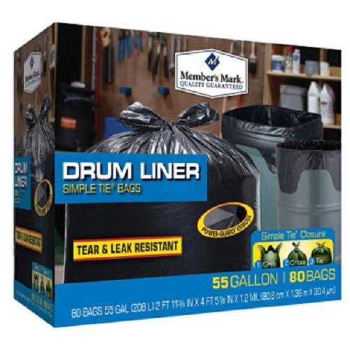 Member's Mark Simple Tie Drum Liner, 55 Gallon, 80 Ct, Black (WCE080B)