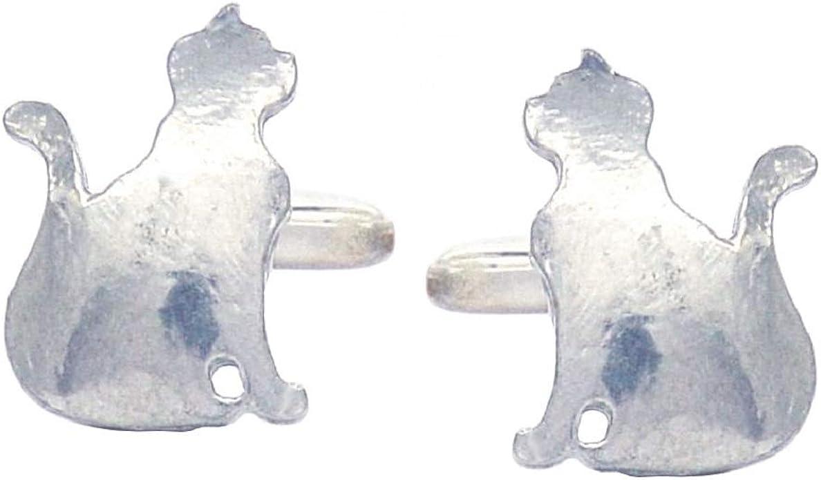 Handcast Fine Pewter Sitting Cat Cufflinks By William Sturt