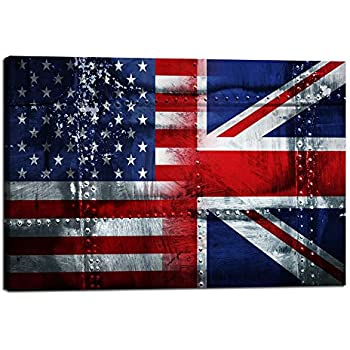 Amazon Com Patriotic Concept Wall Art Usa British Flag