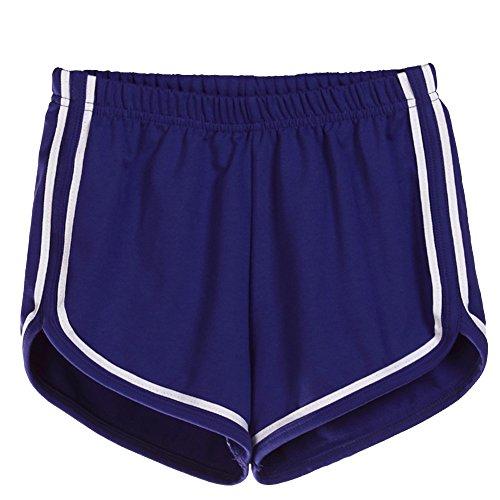 Donna Estivi Pantaloncini Vita Elastica Casuale Sport Fitness Yoga Spiaggia Pantaloni Corti Hot Pants D Blu