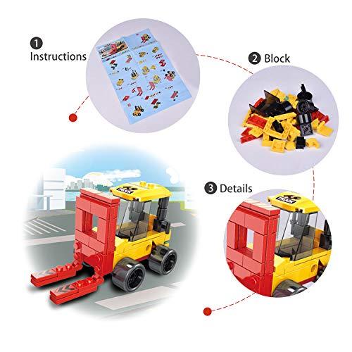 FUN LITTLE TOYS Truck Building Block Set 8 Pack Construction Vehicles 819 Pcs