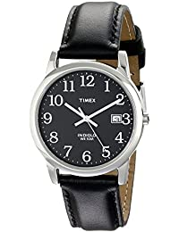 Timex Men's T2N370 Easy Reader Black Leather Strap Watch