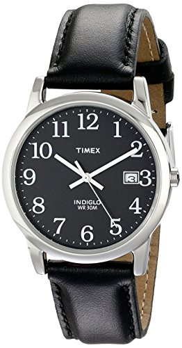 Timex Men's T2N370 Easy Reader Black Leather Strap Watch (Ez Timex Reader)