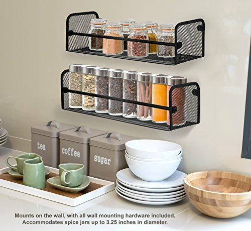 Greenco Wall Mount Single Tier Mesh Spice Rack Black Set