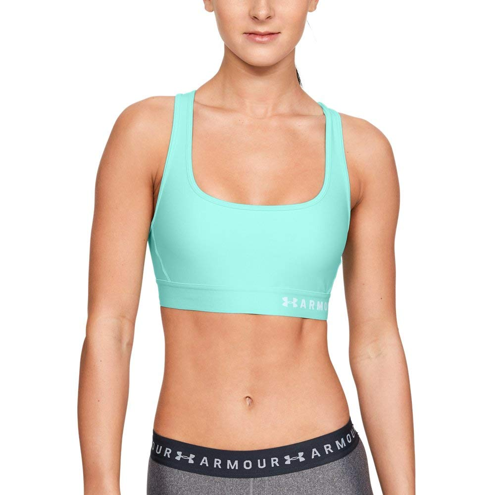 Under Armour Women's Armour Mid Crossback Sports Bra, Neo Turquoise//Fuse Teal, X-Small by Under Armour
