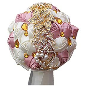 ONLY-FOR-ME-1 Blue White Roses Gold Brooch Bridal Bouquets Stunning Crystal Wedding Bouquet Gold Jewelry Silk Bridesmaid Bouquets,18cm 44